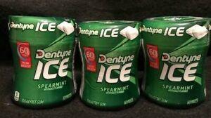 Dentyne Ice SPEARMINT Sugar Free Gum {3 BOTTLES-180 Total Pieces }