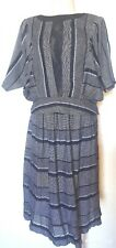 Vintage Black & Gray Two Piece Skirt Set Size Small Great as Separates