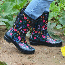 Womens Rubber Rain Boots Floral Printed Adjustable Buckle Pull On Water Shoes