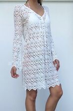 Isola ladies white crochet lace summer throw over dress, size XS