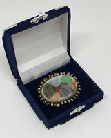 Vintage Costume Jewellery Brooch Gold Tone Edge & Unusual Abstract Pattern Glass