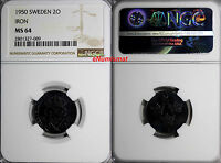 SWEDEN GUSTAF V Iron 1950 2 ORE NGC MS64 GEM BU COIN  KM# 811