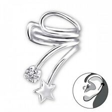 925 Sterling Silver Star Ear Cuff with Cubic Zirconia stone / SALE