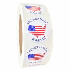 """American Flag Map """"Proudly Made in the USA"""" Circle Label - 1.5"""" - 1000 ct"""