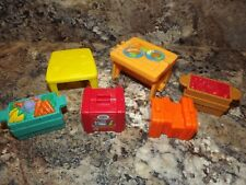 Fisher Price Little People Food Table Suitcase Dollhouse Lot Picnic Table