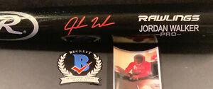 Jordan Walker St Louis Cardinals Signed Engraved Bat Beckett Witness COA Black