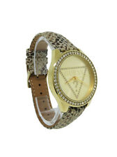 Guess W70015L2 Women's Gold Tone Snake Pattern Suede Stones Analog Watch