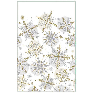 Christmas Party Silver & Gold Snowflake Paper Tablecover 137 x 259 cm