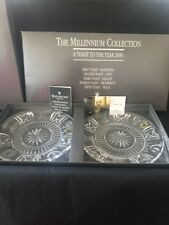 """2 Waterford Millennium Crystal Five Toast 8"""" Plates Sig O' Leary Box/tissue/Book"""