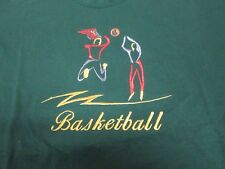 Basketball Embroidery T-Shirt Forest Green 2Xl Fruit of Loom Tee