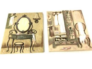 2 Decorative Wall Ceramic Tile Art by Silvia Vassileva Dressing Room Wild Apple