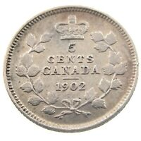 1902 Canada 5 Cents Small Silver Circulated Edward VII Five Cents Coin P418