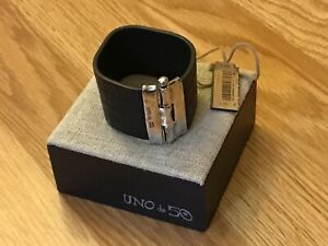 """NWT Uno de 50 Brown Leather Silver-plated Limited Edition Bracelet  6"""""""