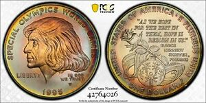 MS68 1995-W $1 Special Olympics Silver Dollar, PCGS Secure- Vivid Rainbow Toned