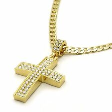 "Mens 14k Gold Filled Fully Cz Cross Pendant Hip-Hop 24"" Cuban Necklace Chain 04"
