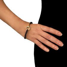 Horse Snafflebit Solid Brass Riding Tack Black Cord Bracelet