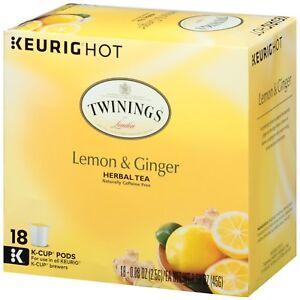 Twinings Lemon & Ginger Herbal Tea 18 to 144 Keurig K cups Pick Any Quantity
