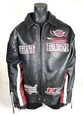 Phat Farm 456 Black Red Men's Leather Jacket Coat Size 3XL