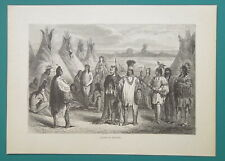 AMERICAN WEST Group of Cree Indians Natives Costume Tents - 1866 Antique Print
