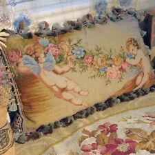 "20"" Stunning Wool Needlepoint Pillow Cushion Cherub Rose Antique Design"
