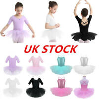 UK Kids Girls Ballet Dance Dress Tutu Skirt Gymnastics Leotard Dancewear Costume