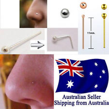 S925 Sterling Silver Nose Pin Stud 22g 0.6mm Bar with Ball Silver Rose Gold 1pc