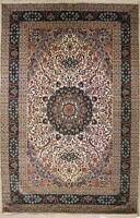 Rugstc 8x10 Senneh Pak Persian Ivory  Rug, Hand-Knotted,Ispahan with Silk/Wool