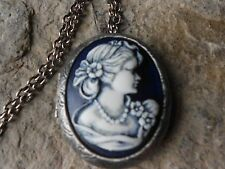 VICTORIAN WOMAN PORTRAIT (HAND PAINTED) CAMEO ANTIQUED SILVER PLATED LOCKET