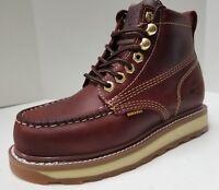 "Mens Bonanza BA612 Burgundy 6"" Leather Soft Toe Moc Toe Lace Up Work Boot"