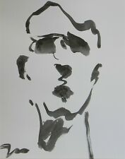"""JOSE TRUJILLO - NEW Black INK WASH on Paper Collectible 14x17"""" Abstract Portrait"""