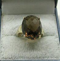 Vintage 9ct Gold Large Smokey Quartz Dress Ring