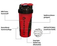 ANTHLETIC Gym Shaker, Protein Shaker, 700 ml, Drehverschluss & Shakerball, rot