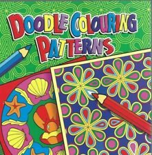 2 DOODLE COLOURING BOOKS 80 PATTERNS IN EACH FOR ALL AGES GREEN & BLUE COVERS