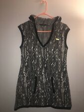 Coogi Women's Hooded Short Sweater Dress Black/White Size Large