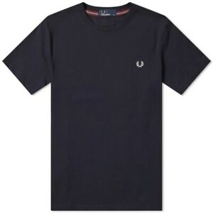 Fred Perry Polo Navy Crew Neck Tee Shirt M6334 248 S M L XL Classic Regular