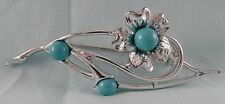 VINTAGE SARAH COVENTRY PIN BROOCH SILVER TONE WITH TURQUOISE COLORED CABOCHONS
