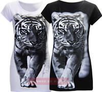 R24 NEW WOMENS ANIMAL TIGER PRINT LADIES PLUS SIZE CAP SLEEVE TOP T SHIRT 08-26