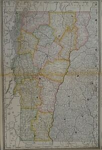 Vintage 1888 Railroad & Township Map ~ VERMONT ~ Old  Authentic Free S&H