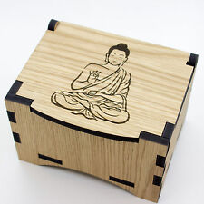 Oak Box, hinged lid for jewellery keepsakes and memory box Gautama Buddha Design