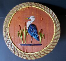 Great Blue Heron: Larger round coiled sweetgrass basket, Paul St. John-Mohawk
