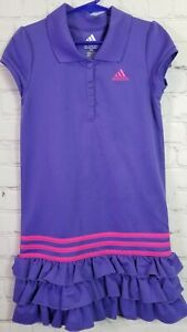 Adidas Size 6X Girls Athletic Short Sleeve Purple Sportswear Polo Ruffle Dress