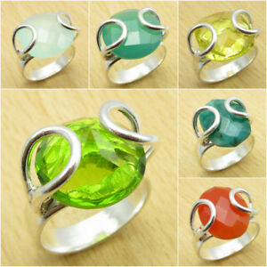 Many Sizes, Many Stone, PERIDOT GLASS & Other Gemstone Ring ! 925 Silver Plated