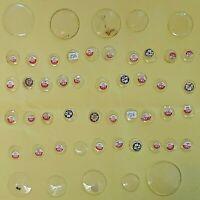 50 antike Kristall Uhrengläser ab 1880 für Taschen - Halsuhren 1,54 - 4,28 mm