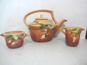 Roseville Pottery Snowberry TEA SET --Teapot, Creamer and Sugar Bowl