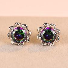 Elegant Round Cut Mystic Rainbow Topaz Flower Stud Earrings White Gold Jewelry