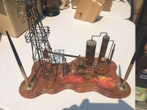 Vintage Copper Derrick Oil well rig Sculpture Art desk set KEN TATYREK Signed