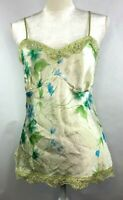 StudioY Womens L Green Floral Chemise Sleeveless Lace Babydoll Cami Top Lingerie