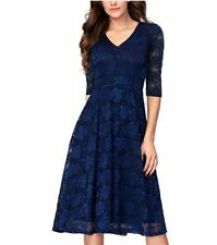 Women's 3/4 Sleeves Lace Fit & Flare Midi Cocktail Dress for Women Party Wedding