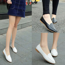 Women Cute Casual Comfort Slip On Pointy Toe Ballet PU Leather Flat Shoes aua