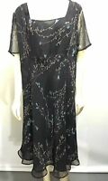 Venezia Womens 28 Black Floral Chiffon Empire Waist Dress Short-Sleeve Mid-Calf